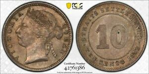 Straits Settlements Queen Victoria 10 cents toned uncirculated PCGS MS62