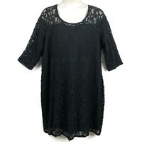 Lane Bryant 28 Black LACE Illusion Lined Dress Evening Formal Wedding Plus Size
