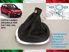CUFFIA CAMBIO FIAT 500L ORIGINALE IN PELLE CON AGGANCI E CORNICE SATINATA