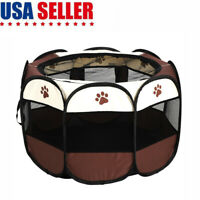 Portable Pet Play Pen Exercise Kennel Tent Dog Soft Playpen Cat Folding Cage US