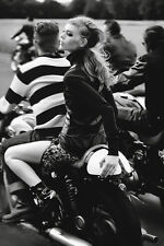 Black White Girl On An Old Motorcycle Bike Motorbike Poster 24x36