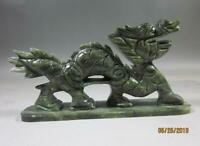 100% China's natural jade statues of hand-carved statues of dragons NR