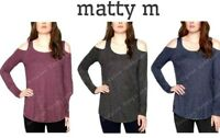New Matty M Women's Scoop Neck Knit Cold Shoulder Top Black/Indigo/Raspberry