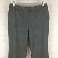 Ann Taylor womens size 8P gray striped wool blend flat front straight dress pant