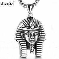 MENDEL Vintage Mens Egyptian Pharaoh Pendant Necklace Stainless Steel Men Silver