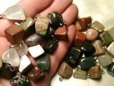 45 Beautiful Mineral Stone Pendants, Calcite, Jasper, Agate, Onyx, Quartz