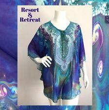 Crystal Embellished Kaftan Size 12-20, Resort Wear, Tropical Print, Cosmic Blue