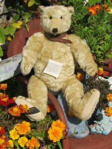 "VINTAGE TEDDY BEAR 21"" GUND CANTERBURY MOHAIR ARTIST TAGS FEATHER LEATHER COLLAR"