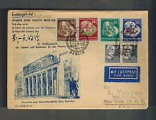 1951 Berlin East Germany DDR First DAy Cover  to USA FDC # 86-88 Stalin Allee