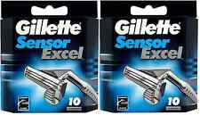 Mens Gillette Sensor Excel Razors Blades, 20 Cartridges, FREE SHIPPING