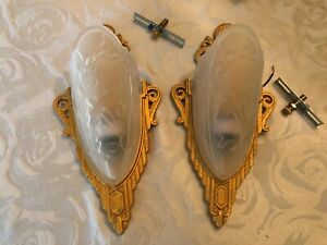 Pair Art Deco Slip Shade Wall Sconce Antique Vintage Style Light Fixture