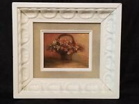 Small Vintage Oil On Board Framed Painting Basket Of Flowers Still Life