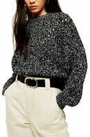 Topshop Sweater 4-6 Pointelle Chunky Marled Knit Dropped Shoulder Relaxed NWT