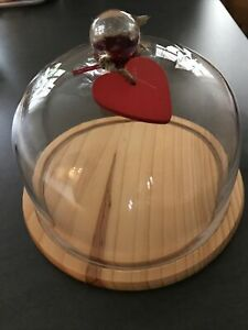 Vintage Rustic Country Natural Wood Cheese Board With Glass Dome Lid
