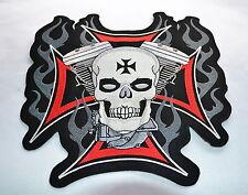 Skull mit Harley Motor, Patch,XL,Rückenaufnäher,Badge,Evo,Biker,Kutte,Aufbügler