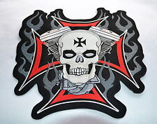 Skull avec Harley Moteur, patch, xl, dos un écusson, badge, EVO, motard, blouson, aufbügler