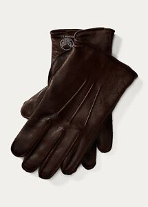 NWB RRL Ralph Lauren Double RL Mens Gloves Brown Leather Cashmere Lined Medium M