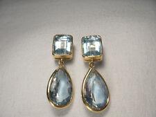 Unique Estate 14K Gold Huge Blue Topaz Hanging Drop Dangle Art Deco Earrings