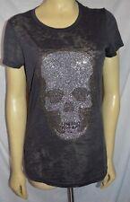 E.vil Womens Burnout T-Shirt Crystals Skull  Gray size L EXCELLENT lotsa BLING