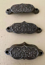 Lot Of 3 Metal Antique Vintage Drawer Cabinet Door Dresser Handles Pulls