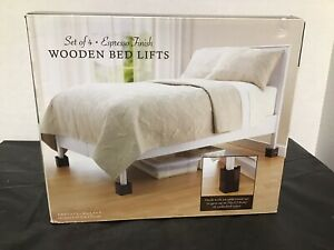 Espresso Wooden Bed Lifts - Brown - Set of 4 New In Box