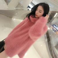 Women Cashmere Fur Sweater Winter Pullover Turtleneck Knitted Warm Coat HOT