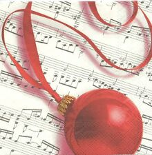 2 Serviettes en papier Boule de Noël Musique Paper Napkins Christmas Bauble