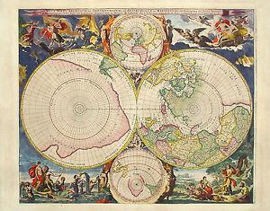 A4 Affiche - Vintage Style Carte Du Monde (Nautique Globe Image Imprimé Art)