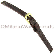 6mm Glam Rock High Quality Alligator Grain Gen.Leather Red Brown Watch Band 8017