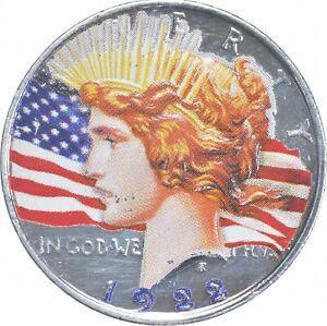 Early - 1922 Peace Silver Dollar - Colorized - 90% US Coin *444
