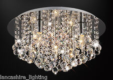 * SALE * Flush Ceiling Light In Chrome With Stunning Crystal Ball Droplets 5x60W