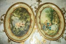 Italian Florentine Wood Oval Pictures Romantic Vintage Hollywood Regency