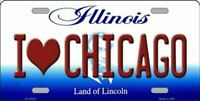 I Love Chicago Illinois State Background Novelty License Plate
