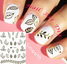 Nail Art Stickers (#Y054 ORO) Decals-Water Transfer Adesivi FOGLIE-Manicure!