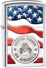 Zippo American Stamp Seal on Flag High Polish Chrome WindProof Lighter NEW 29395