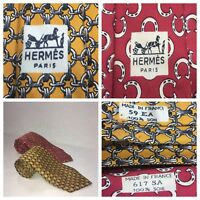 2 Hermes Silk Necktie Red Yellow Horseshoe Chainlink 59 EA 617 SA