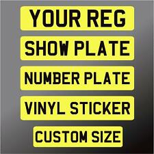 SELF ADHESIVE Stick on number plate Rear Sticker Classic Show Kit Car Cut Down