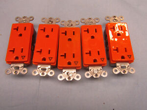 LOT OF 5 HUBBELL Receptacle,Duplex,20A,5-20R,125V Orange IG2162 Used