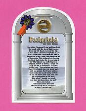 """""""Footprints In The Sand"""" - Verse Card Poem w Genuine Footprints Penny - SKU# 515"""
