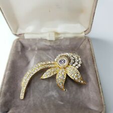 Tone Brooch Paste Gift Costume Jewellery Rare Vintage Inner Wheel Diamante Gold