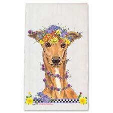 Greyhound Fawn Dog Floral Kitchen Towel Pet Gift
