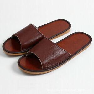 Sz44 Unisex Genuine Leather Slipper Shoes Sandals Flats Cowhide Soft Breathable