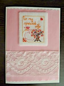Completed Cross Stitch Greeting Card To my special wife, Anniversary Card
