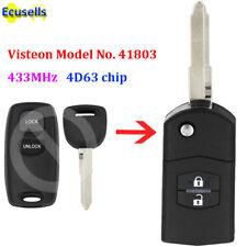 Upgraded Flip Remote Key 2 Button 433MHz 4D63 for Mazda 2 3 6 Visteon No.41803