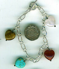 "925 Sterling Silver Turquoise, Rose Quartz,Carnelian & Tiger Eye Bracelet 7.1/4"""