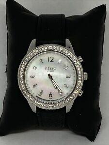 Relic ZRT1000 Women's Black Leather Analog Silver Dial Hybrid Smart Watch LW111