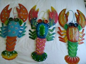 """Metal Lobsters-Set of 3-28"""" Colorful Tropical Beachy Wall Decor Indoor/Outdoor"""