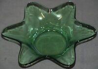 Green Glass Dish Small Starburst Design Vintage