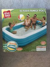 New ListingPlay Day 10 Foot Rectangular Inflatable Family Pool