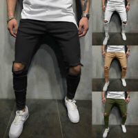 Men's Skinny Jeans Ripped Stretch Denim Trousers Distress Frayed Slim Fit Pants
